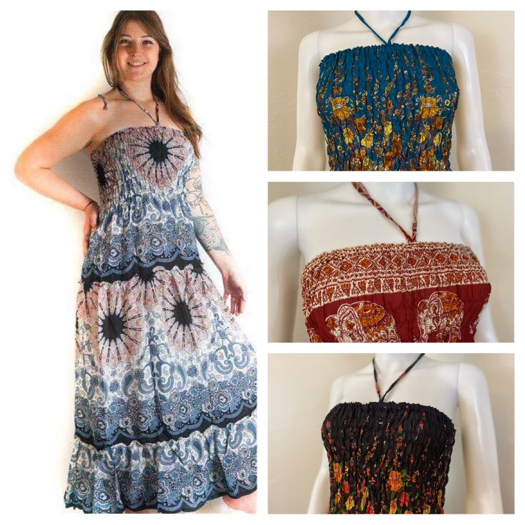 Plus Size Gypsy Boho Maxi Dress Rayon