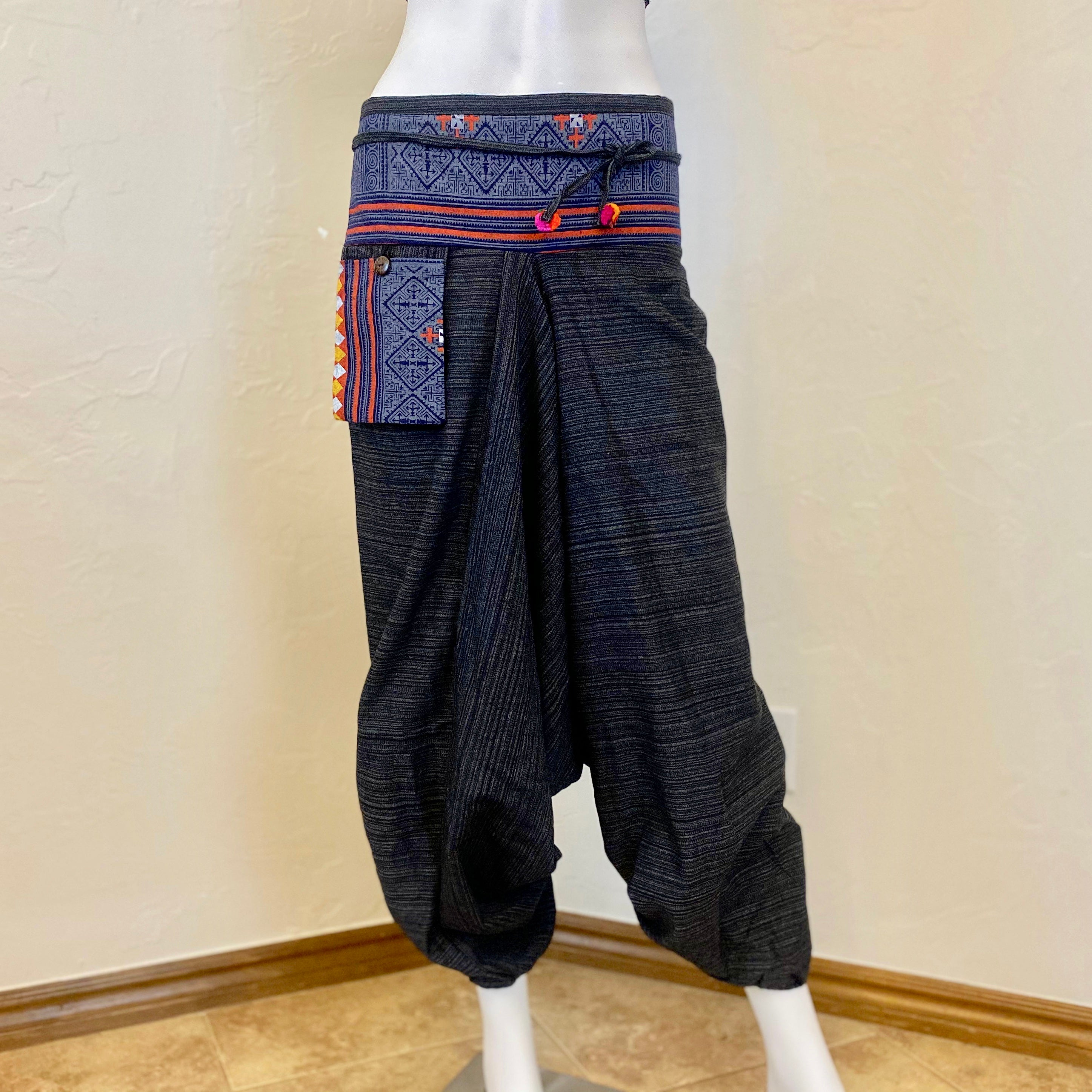 Pinstripe Cotton Low Cut Harem Unisex Pants With Hill Tribe Trim