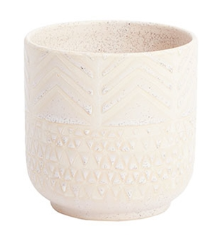 Cream Pattern Pot