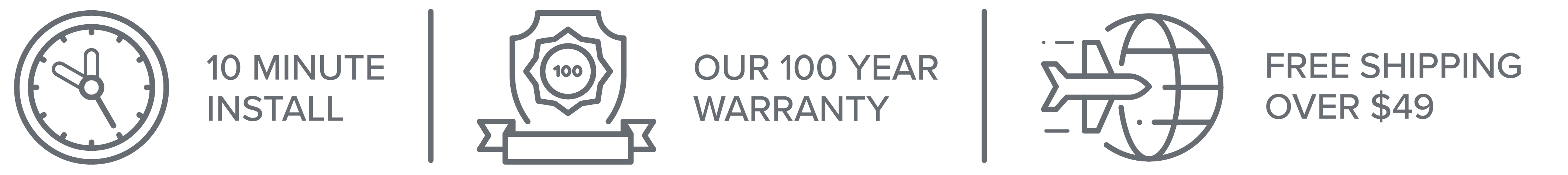 10 Minute Install, Our 100 Year Warranty and Free Shipping on orders over $49