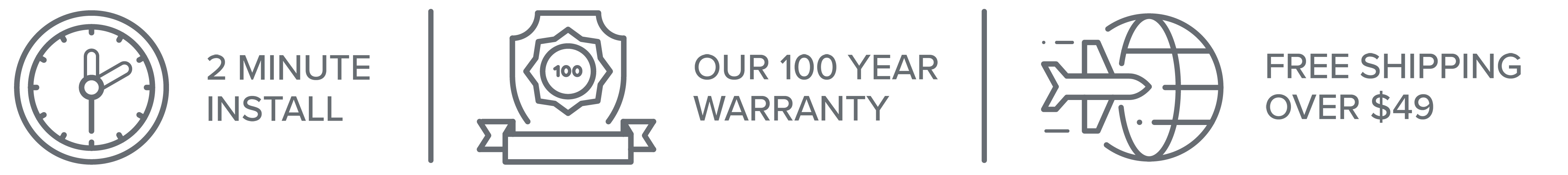 2 Minute Install, Our 100 Year Warranty and Free Shipping on orders over $49