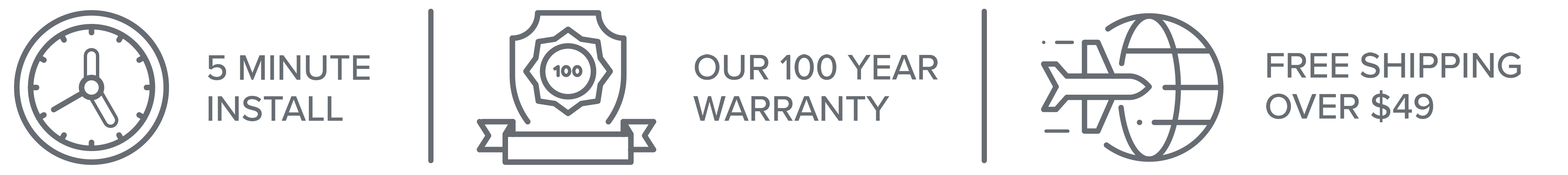 5 Minute Install, Our 100 Year Warranty and Free Shipping on orders over $49