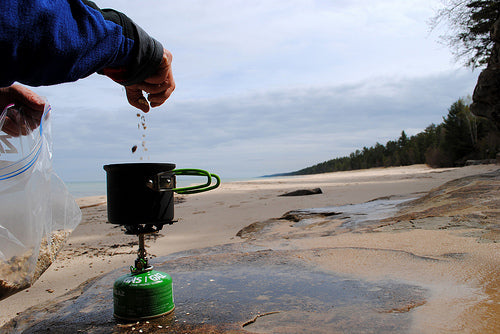 Making breakfast on the beach in Pictured Rocks National Lakeshore