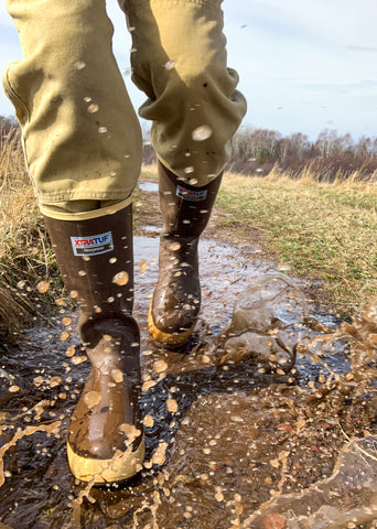 XtraTuff Legacy rubber boots on the trail in Michigan's Upper Peninsula