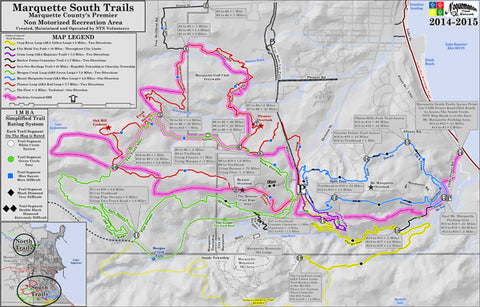 Map of the Fat biking trails at the south trails of the Noquemenon trail network in Marquette