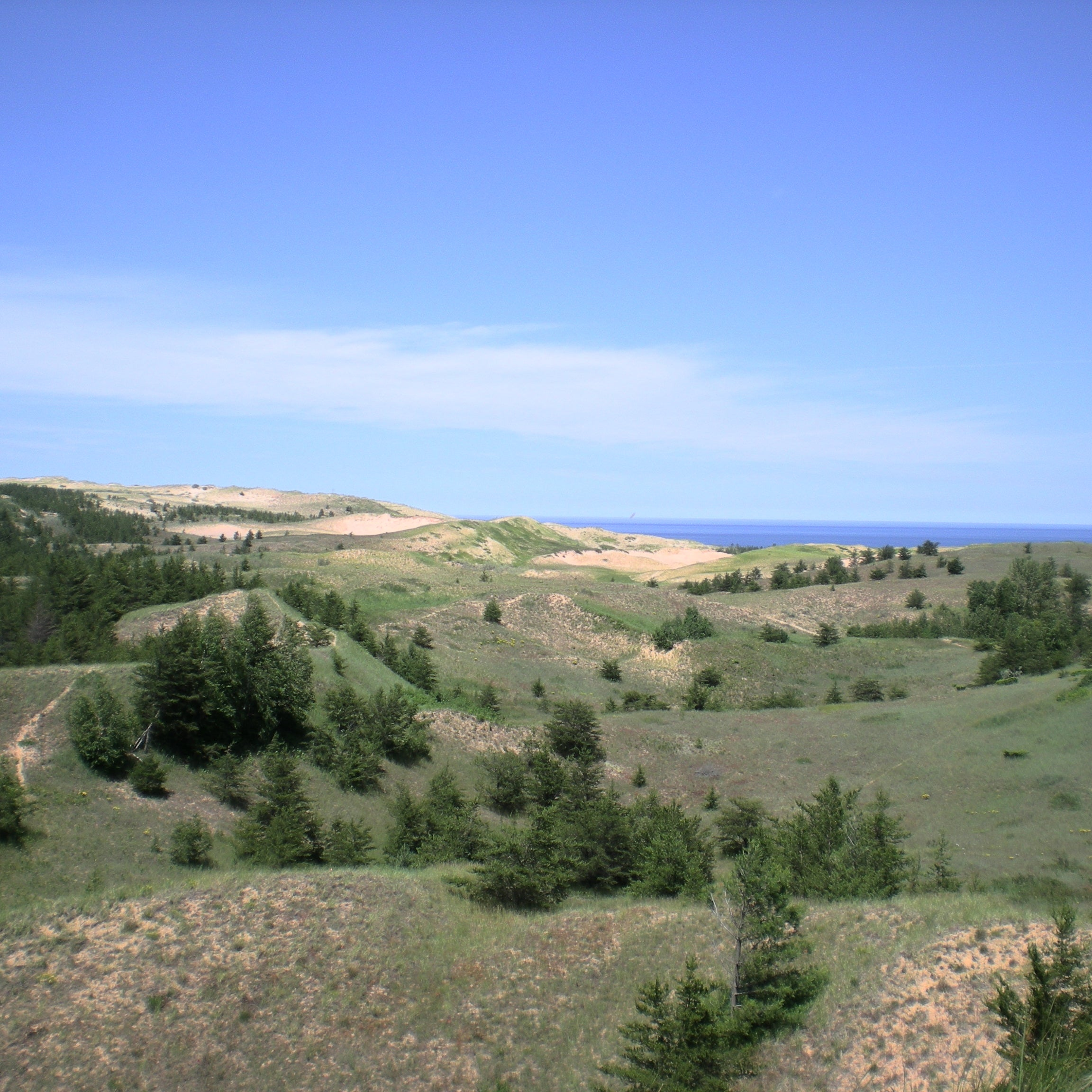 Looking at Lake Superior across the Grand Sable Dunes in Pictured Rocks National Lakeshore