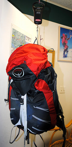 Lightweight Pack hanging from scale