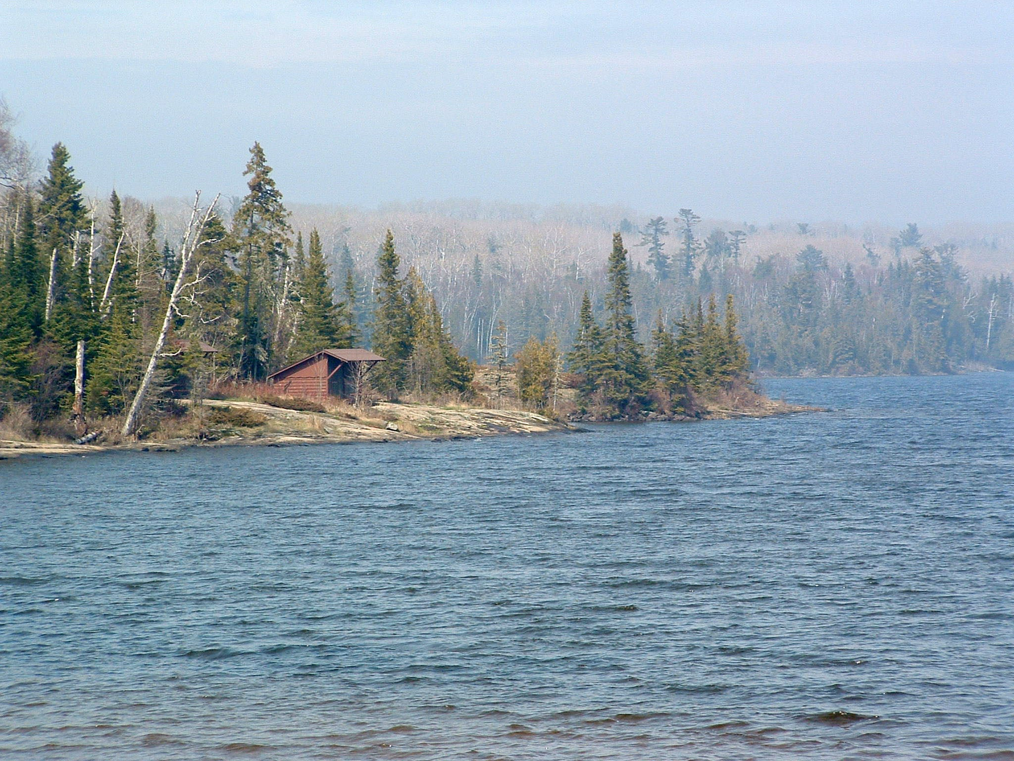 Trail shelter in Moskey basin on Isle Royale National Park