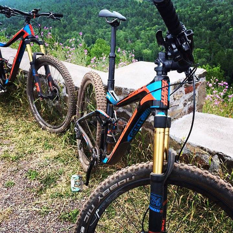 Giant Bikes enjoying a rest and the view on Brockway Mountain in Copper Harbor