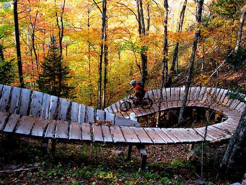 Wooden structure on Brockway Mountain at the Copper Harbor Mountain Bike Trails