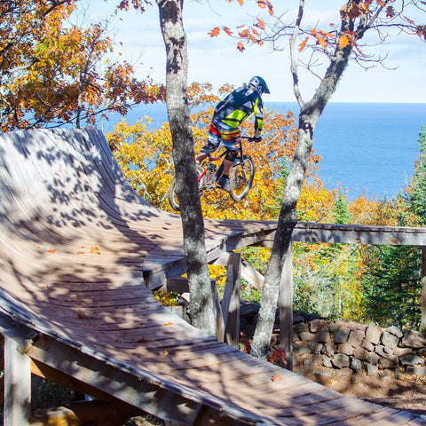 A bike repaired at Down Wind Sports in Houghton riding the legendary Overflow trail in Copper Harbor