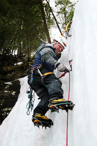 Bill Thompson ice climbing in Pictured Rocks National Lakeshore