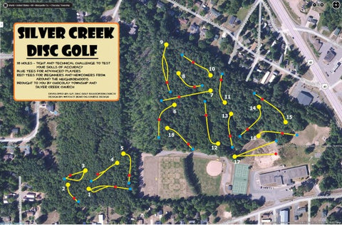 Map of Silver Creek Disc Golf Course in Marquette