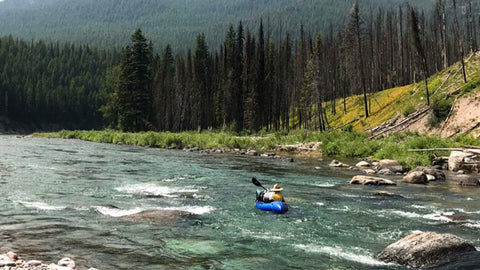 PArni Ronis pack rafting the South Fork of the Flathead in the Montana's Bob Marshal Wilderness