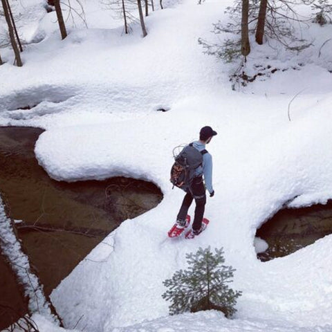 Exploring the deep snow and quiet woods of an Upper Peninsula winter on snowshoes