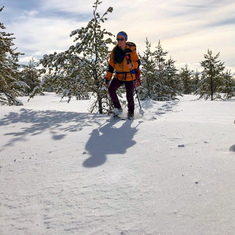 Deep snow and blue skys on a perfect day for snowshoeing in the Upper Peninsula
