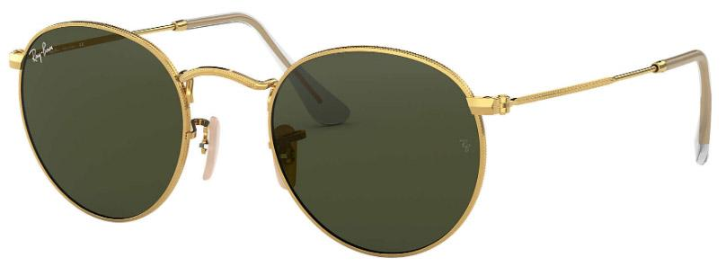Ray Ban Round Metal Arista w/Crystal Green