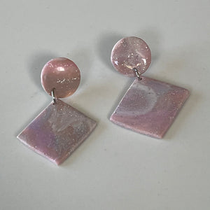 Mauve Mood - Circles & Diamonds Shimmering Earrings