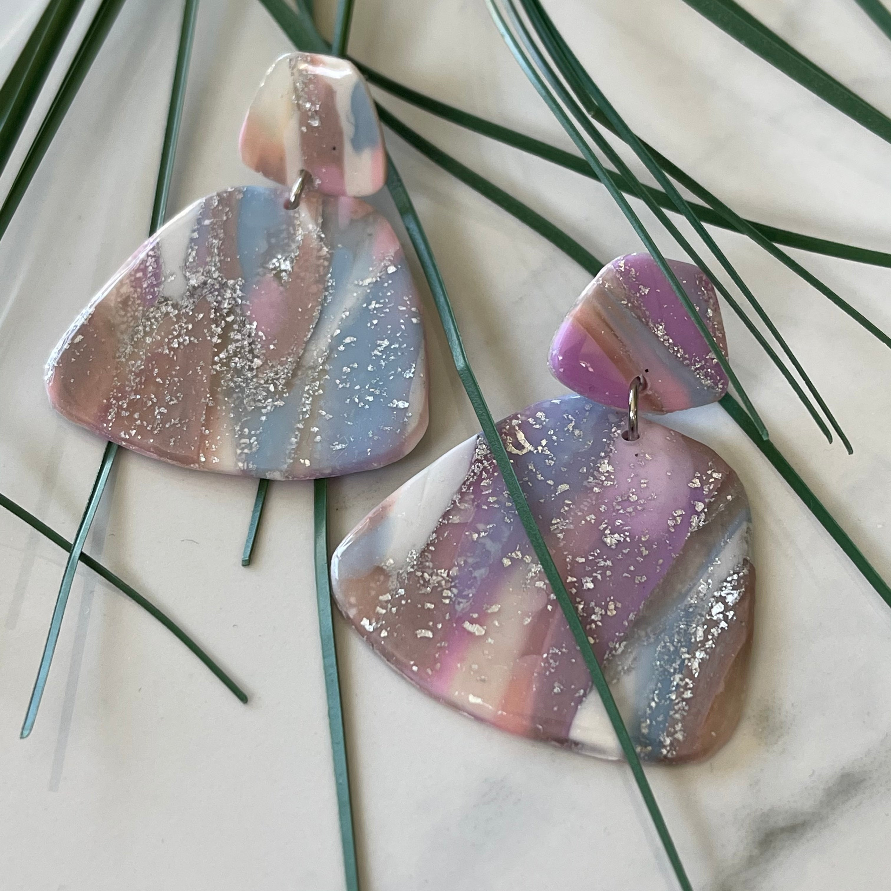 Mauve Mood - Trapezoid Shape Purple and Blue Hued Shimmering Earrings