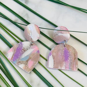 Mauve Mood - Window Shaped Purple and Blue Hued Shimmering Earrings