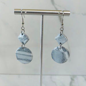 Marble Collection - Circles & Diamonds Marbled Dangle Earrings