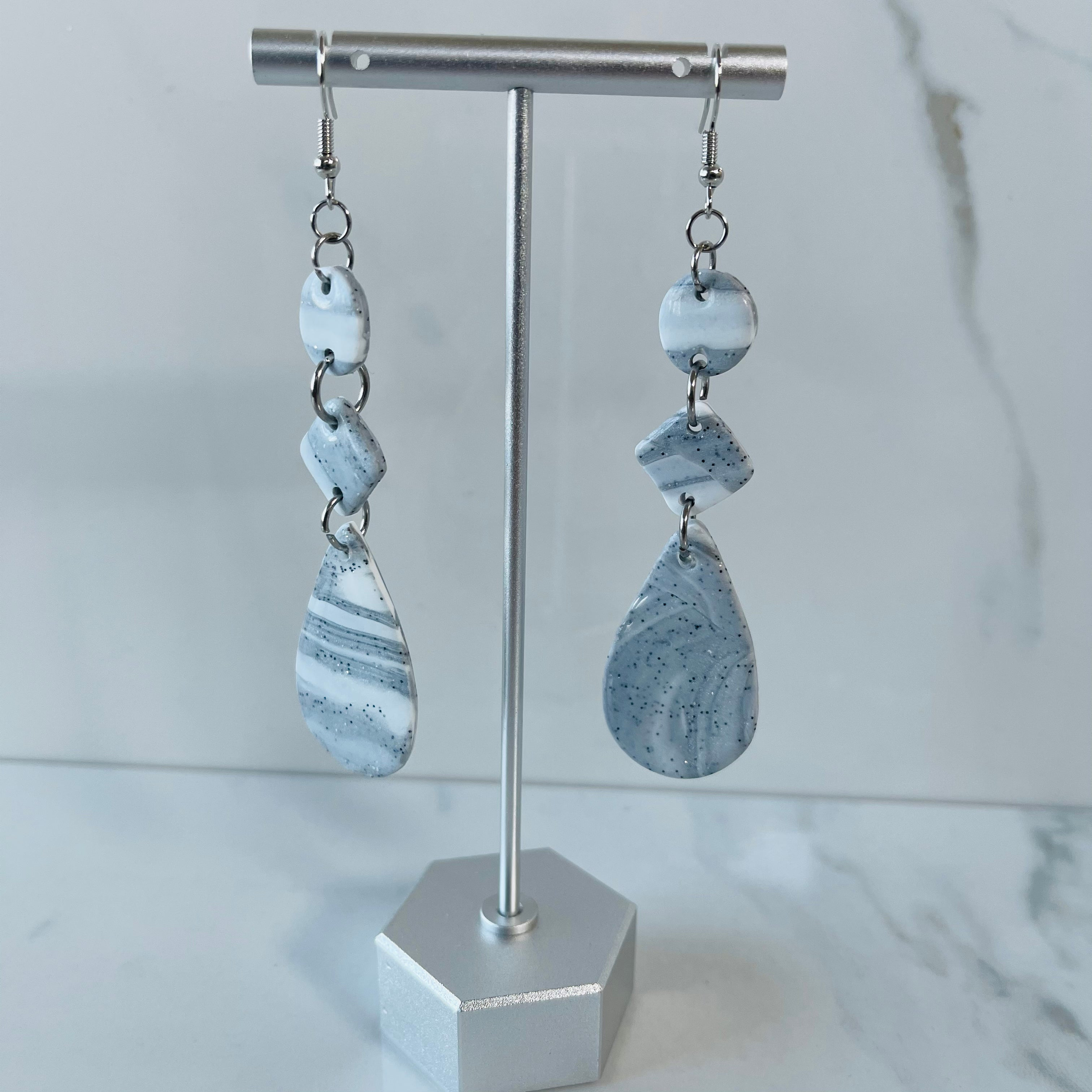 Marble Collection - Multi-Shape Teardrop Marbled Dangle Earrings