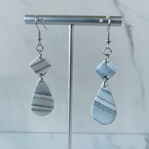 Marble Collection - Teardrop & Diamond Shaped Marbled Dangle Earrings