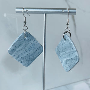 Marble Collection - Large Diamond Shaped Marbled Dangle Earrings