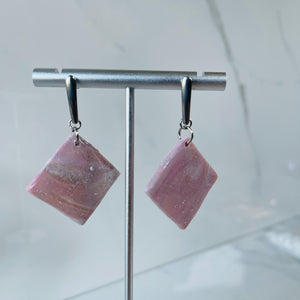 Misfit Earrings - Mauve Mood Square Dangles
