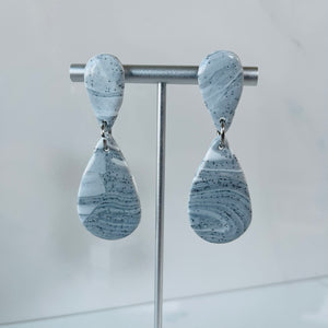 Marble Collection - Double Teardrop Shape Marbled Dangle Earrings