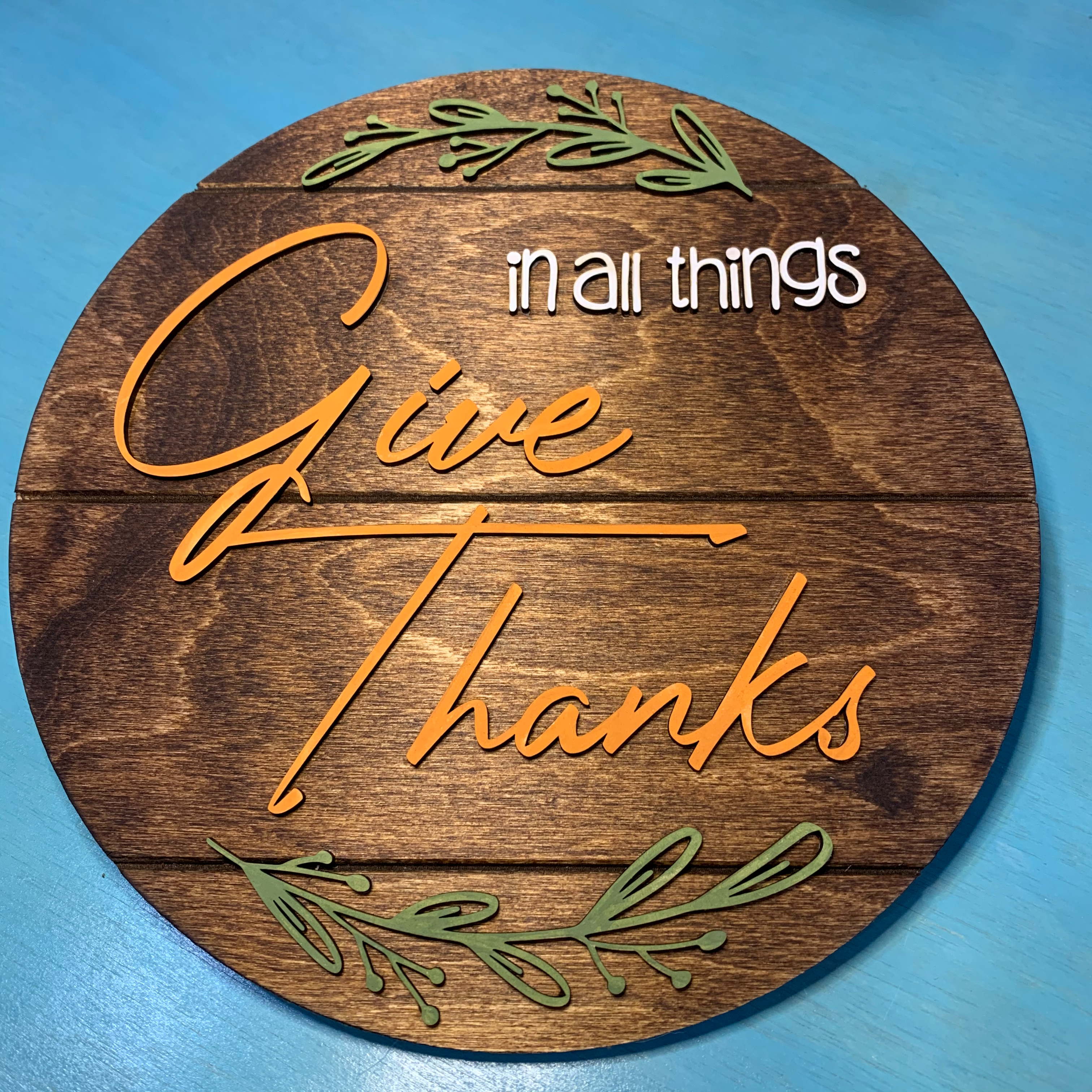 Give Thanks Round Sign
