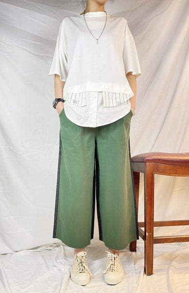 Mixed Fabric Pants (2 colours) (pre order)