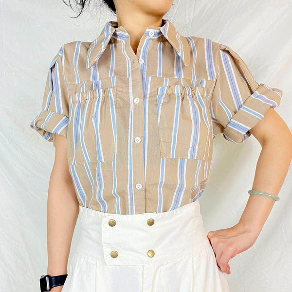 Front Pocket Striped Shirt (2 colours) (pre order)