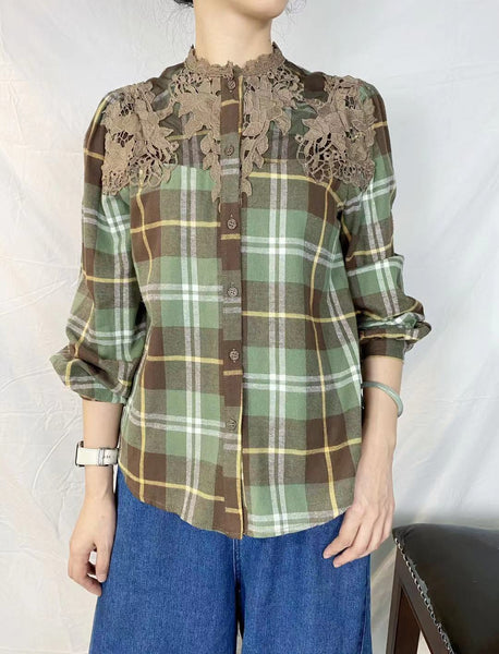 Embroidered Shoulder Checkered Shirt (2 colours)