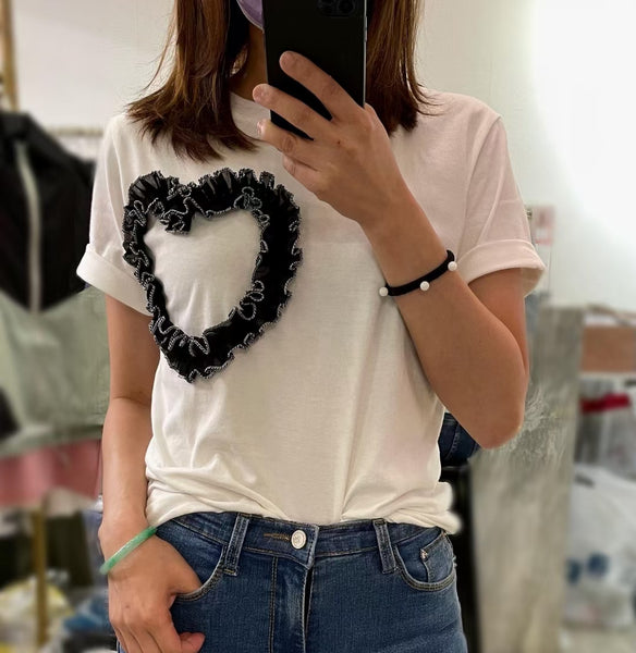 Heart Shape Ruffle Trimmed Tee (2 colours) (pre order)