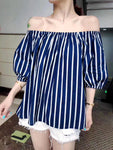 Lantern Sleeves Striped Top (4 colours) (pre order)