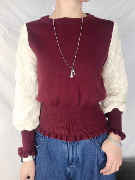 Mixed Lace Sleeves Knit Top (3 colours) (pre order)