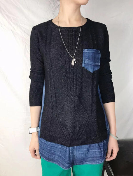 Mixed Denim Knit Top (2 colours) (pre order)