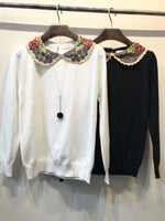 Crochet Collar Knit Top (2 colours) (pre order)