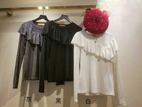 Ruffle Trimmed Top (3 colours) (pre order)