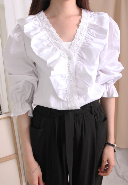 V-Neck Embroidered Collar White Shirt