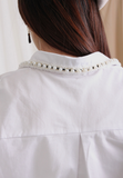 White Shirt with Imitation Pearls on Collar and Cuff