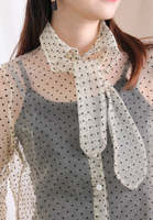 Front Knot Dot Dot See Through Top