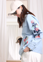 Floral Embroidered Denim Blouse
