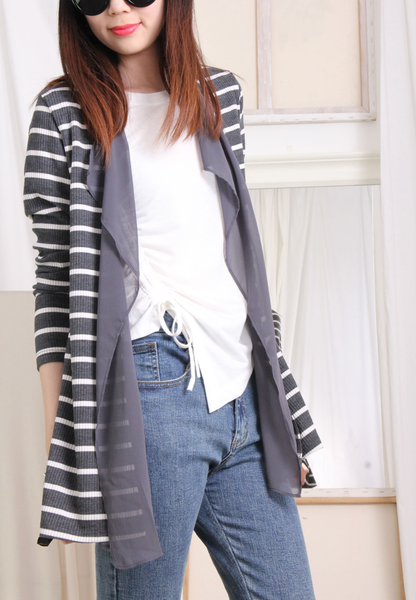 Pinstriped Weaving x Chiffon Cardigan (2 colours)