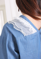 Double V-Neck Mesh Ruffle Trimming Denim Blouse