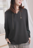 Split Sleeves Chiffon Top (with Gold Plated Chain) (2 colours)
