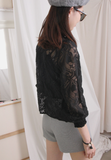 Elastic Collar Lace Top (2 colours)