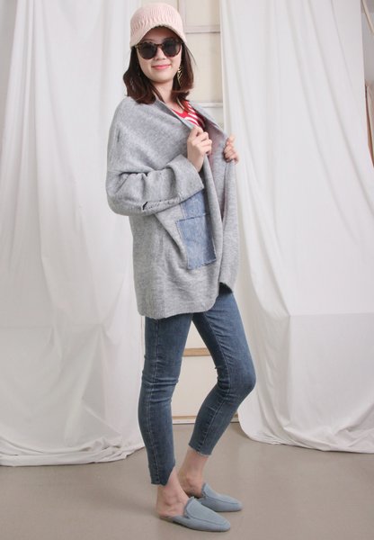 Oversize Ripped Style Denim Patchwork Wool Jacket