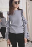 Open Shoulder Ruffle Sleeves Knit Top (2 colours)